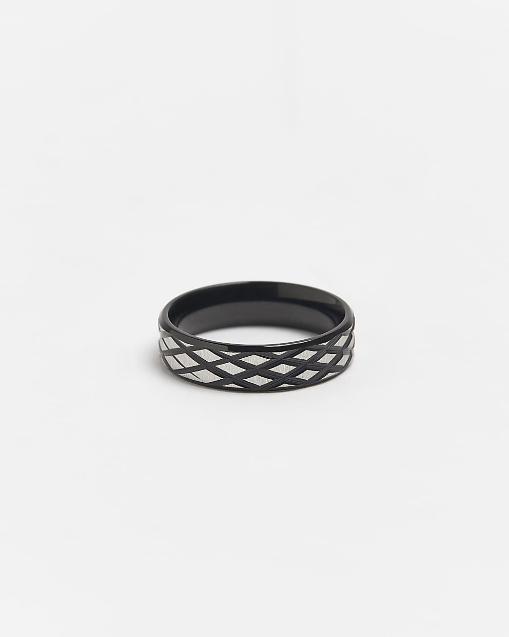 Black stainless steel engraved band ring