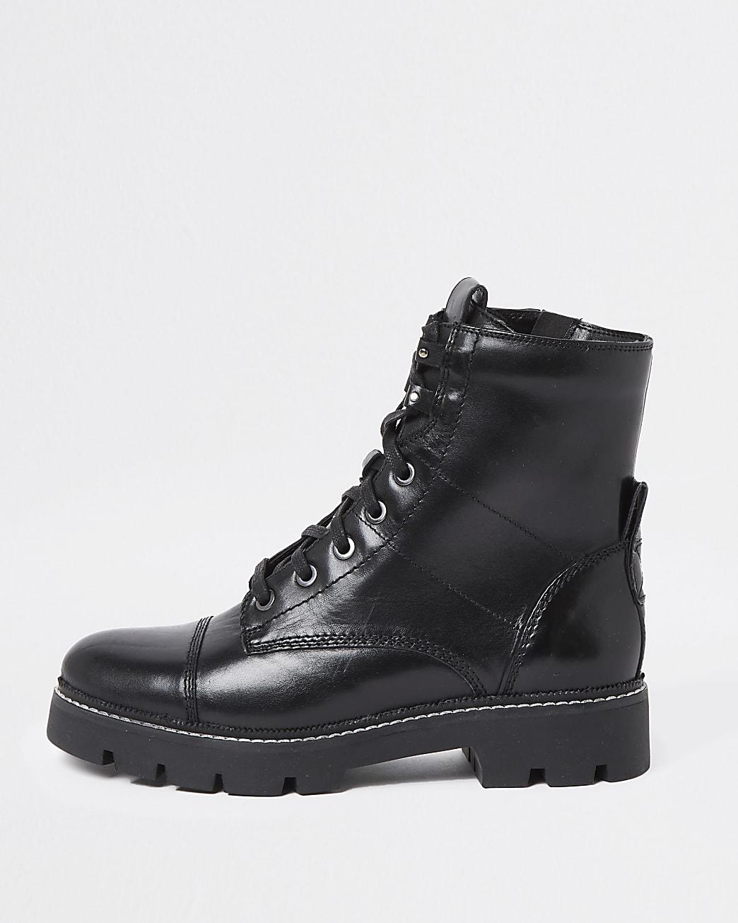 Black stitch detail biker boots