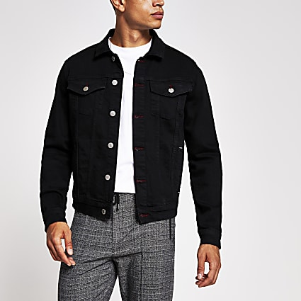 Black stitch detail denim jacket