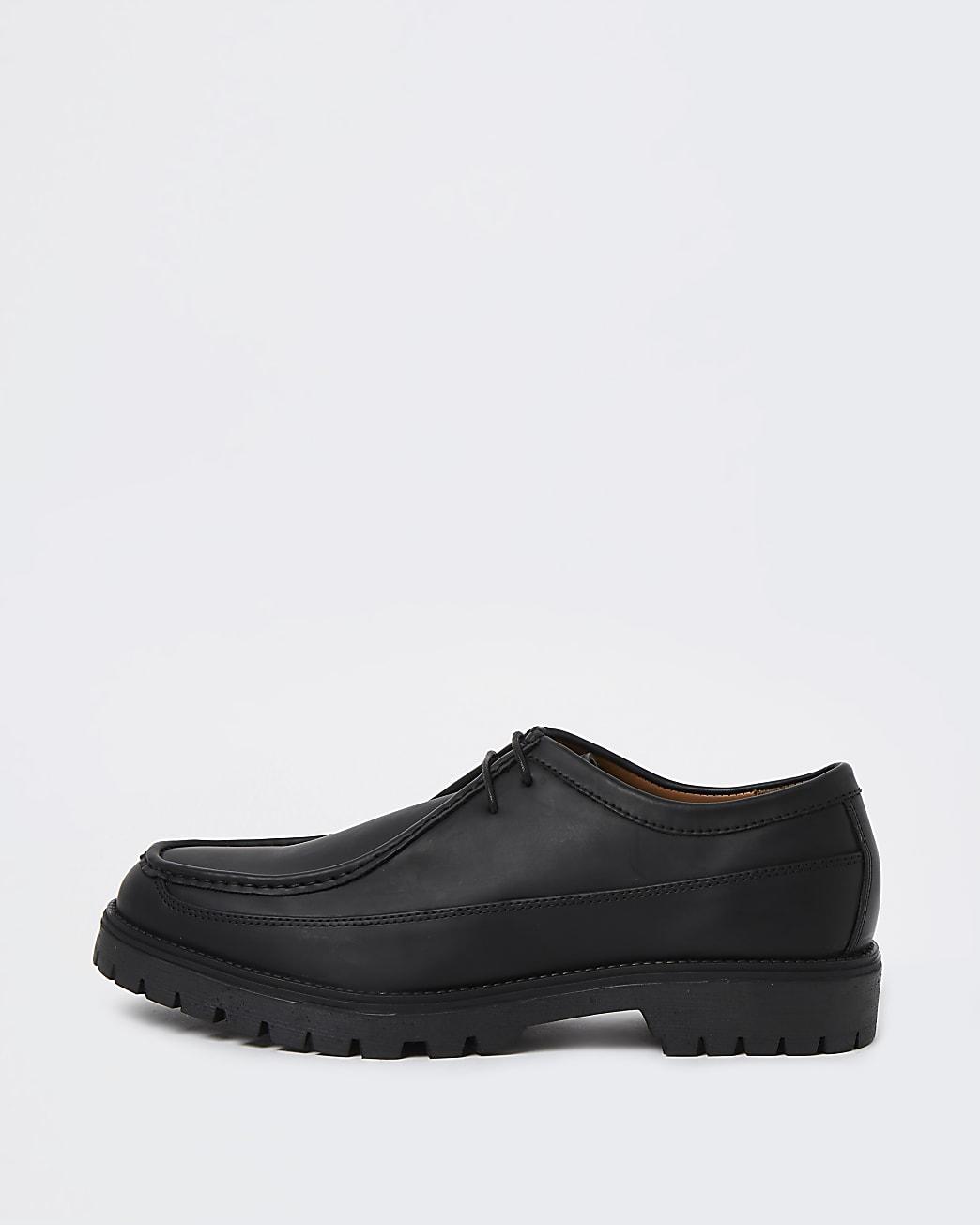 Black stitch detail lace up shoes