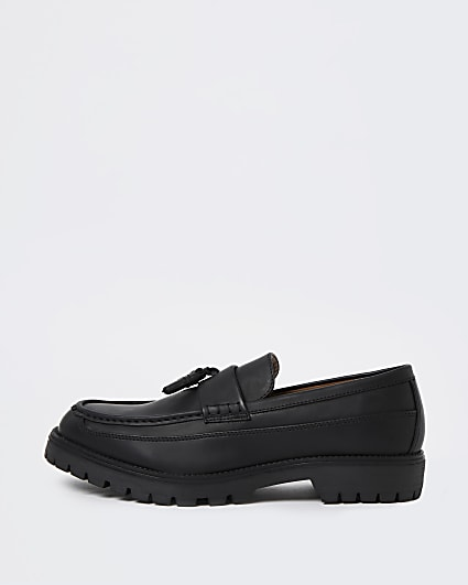 Black stitch detail tassel loafers