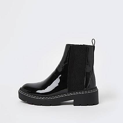 Black stitched detail patent ankle boots