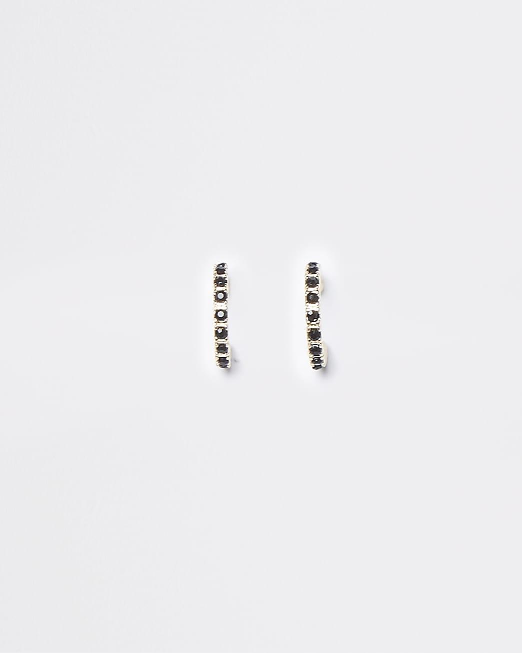 Black stone embellished hoop earrings