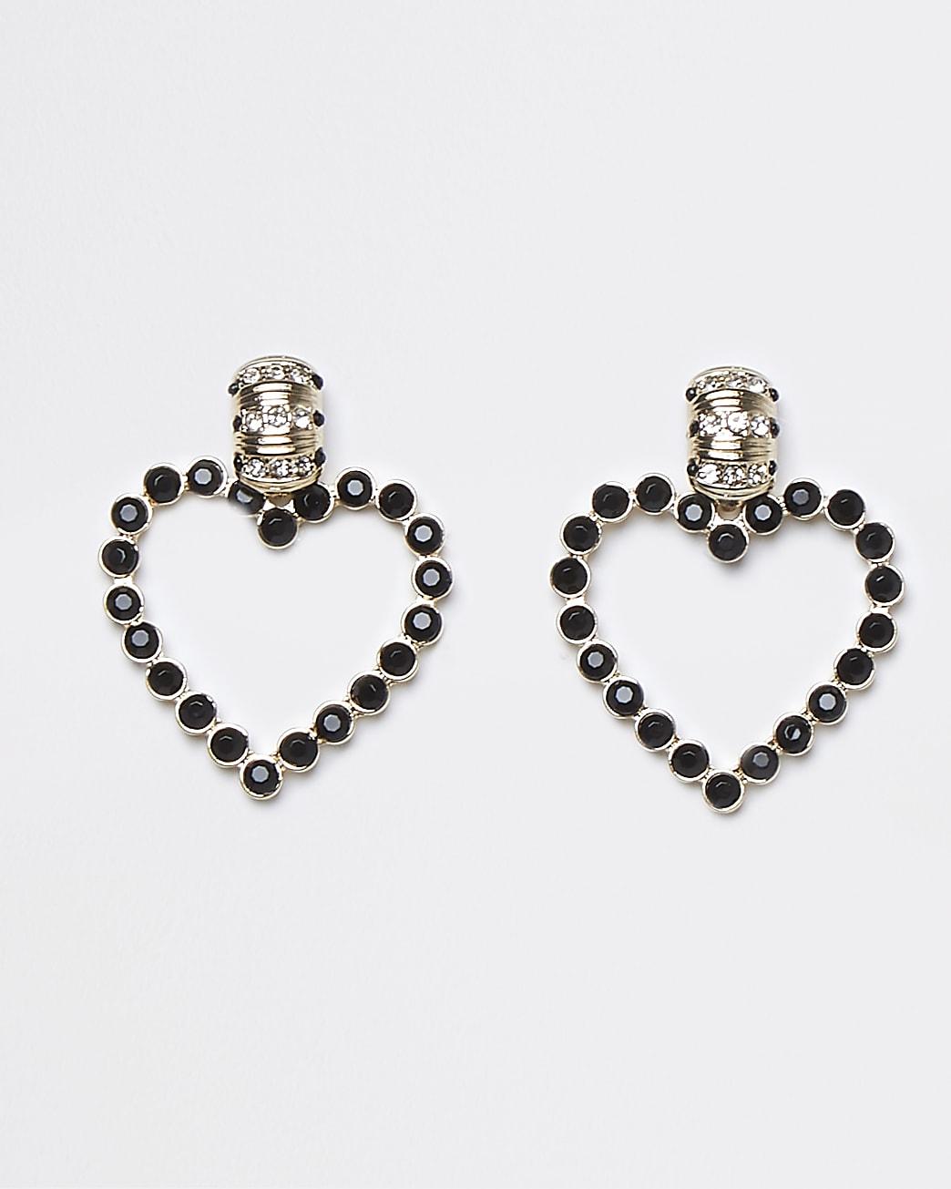Black stone heart drop earrings