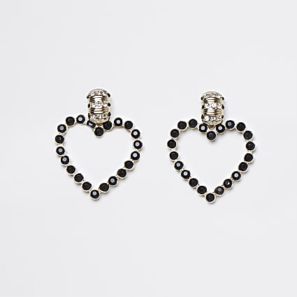 Black stone heart drop earrings