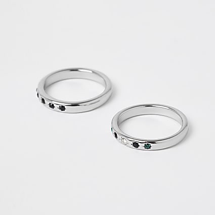 Black stone rings 2 pack