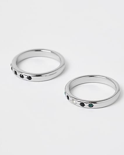 Black stone rings 2 pack