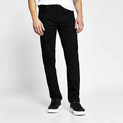 Black straight fit black jeans