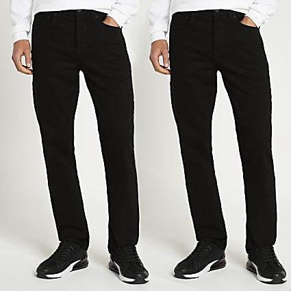 Black straight jeans 2 pack
