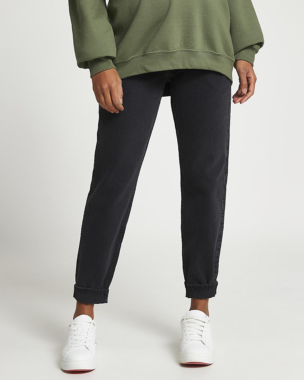 Black straight leg maternity mom jeans
