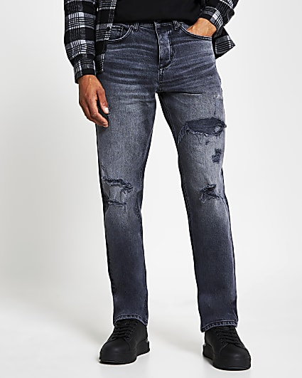 Black straight ripped denim jeans