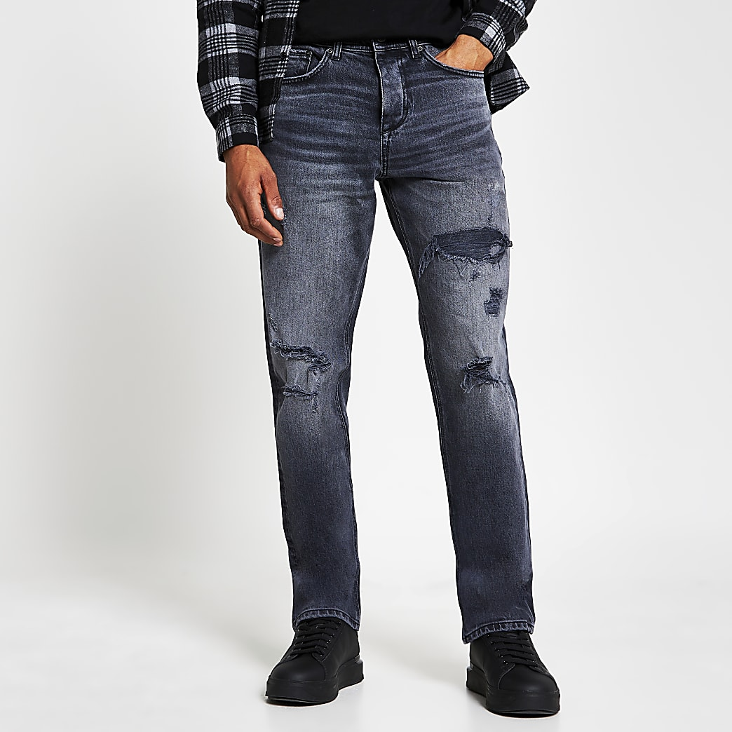 Black straight ripped denim jeans