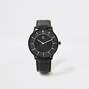 Elegante Armbanduhr mit schwarzem Band und blauem Ziffernblatt