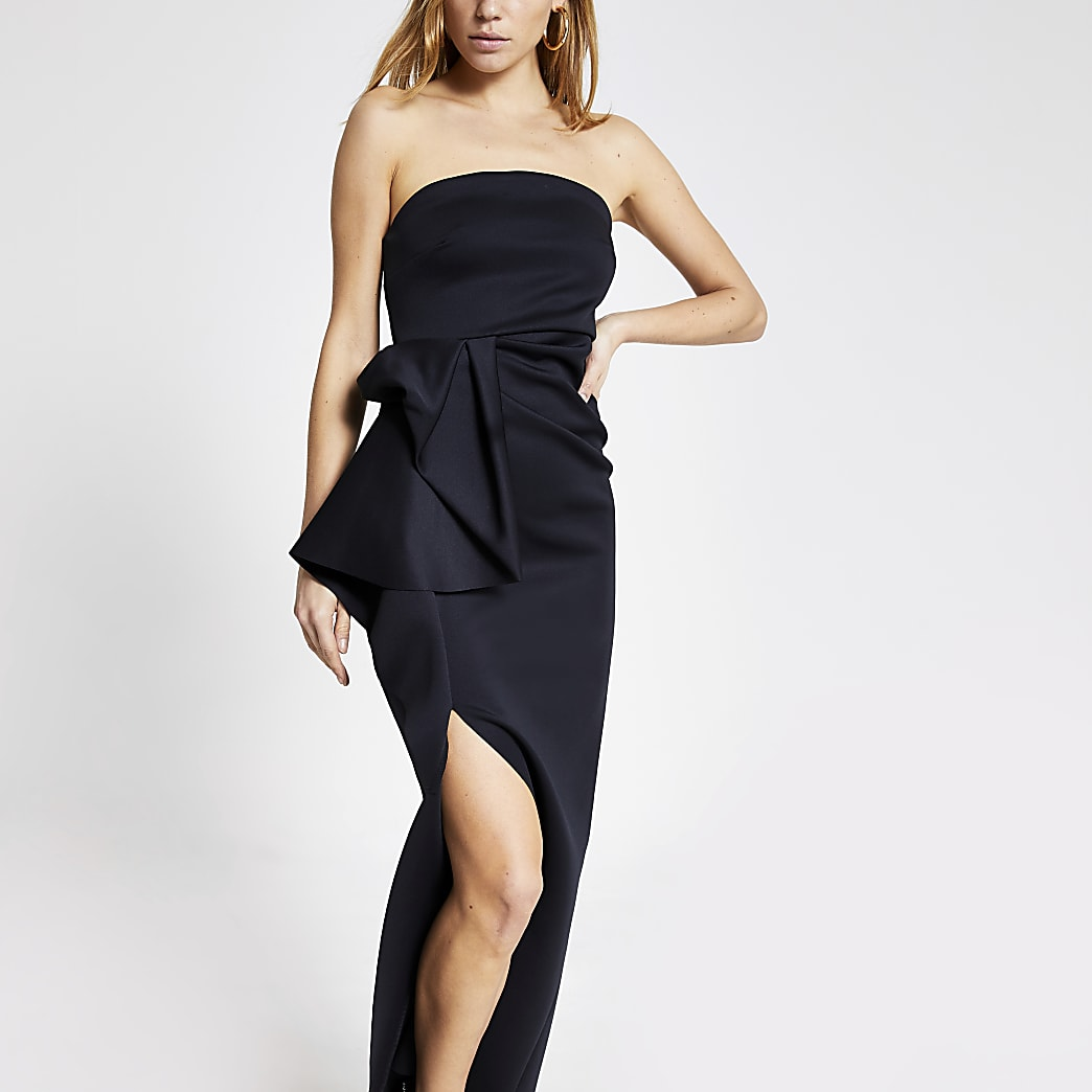 Black strapless ruffle bodycon maxi dress