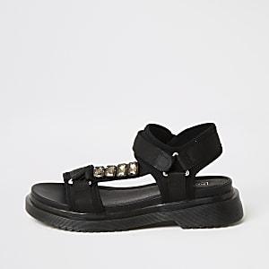 Sandales à lanières noires avec semelle en gomme