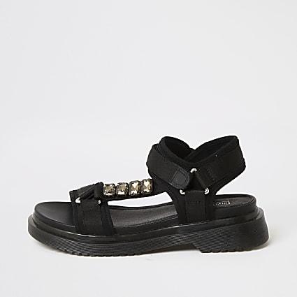 Black strappy gum sole sandals