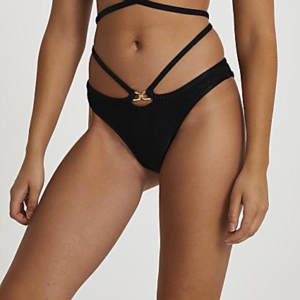 Black strappy low rise bikini briefs