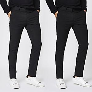 Zwarte skinny-fit nette stretch broeken set van 2
