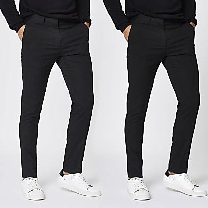 Black stretch skinny smart trousers 2 pack