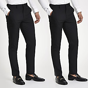 Black stretch slim fit trousers 2 pack