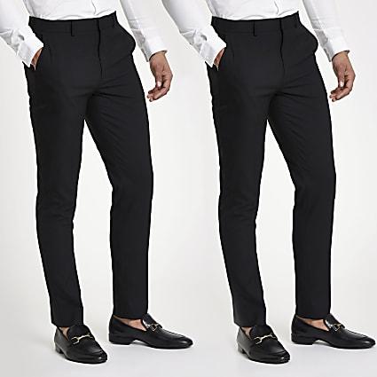 Black stretch slim fit trousers 2 pack