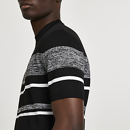 Black stripe blocked slim fit knitted t-shirt