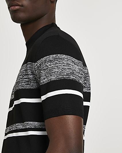 Black stripe blocked slim fit knitted t-shirt