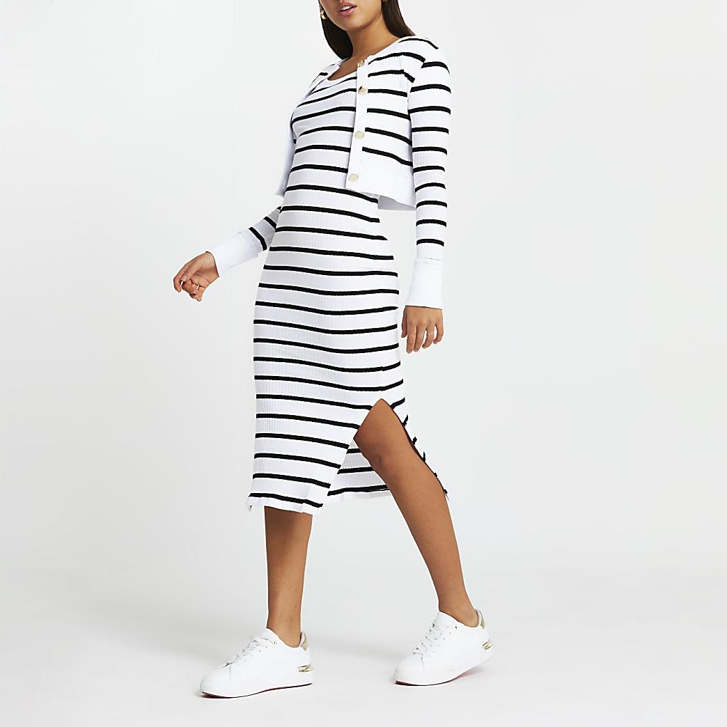 Black stripe bodycon dress & cardigan set