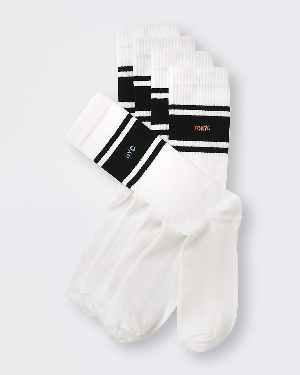 Black stripe city embroidery socks 5 pack