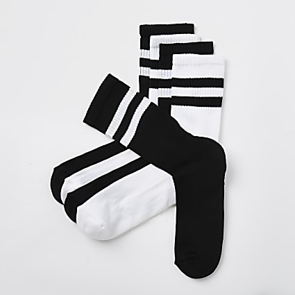 Black stripe design socks 5 pack