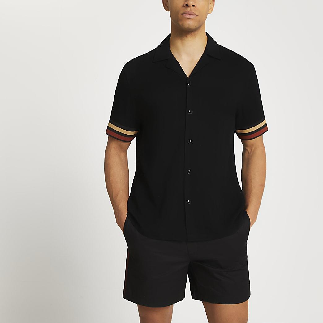 Black stripe detail short sleeve revere shirt