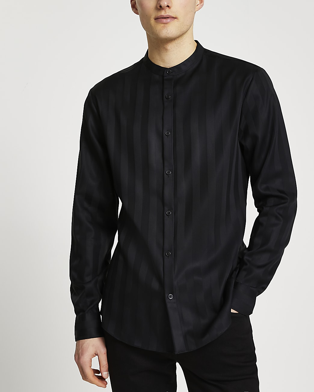 Black stripe grandad collar long sleeve shirt