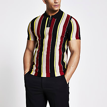 Black stripe half zip slim knitted polo top