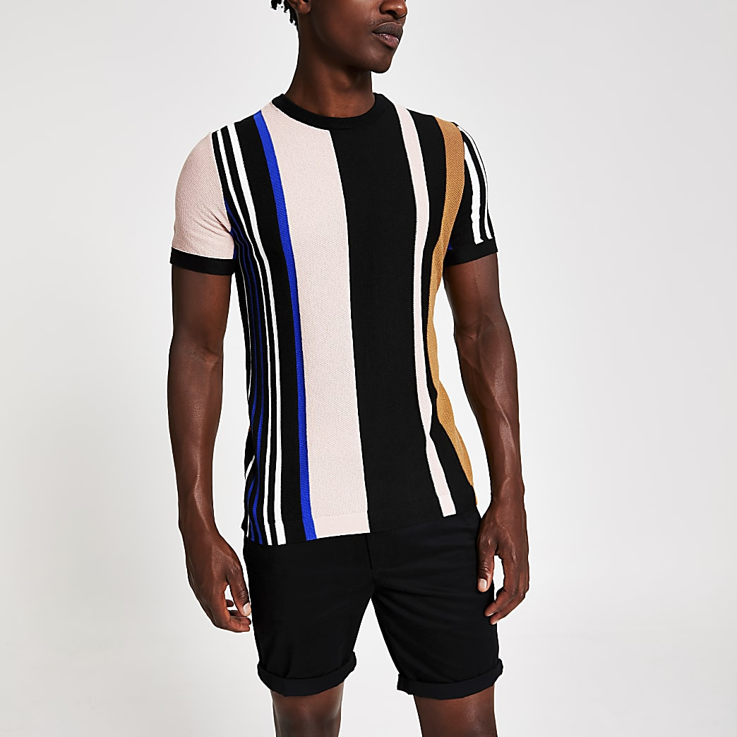 Black stripe knitted slim fit T-shirt