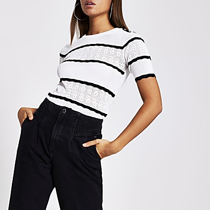 Black stripe knitted t shirt