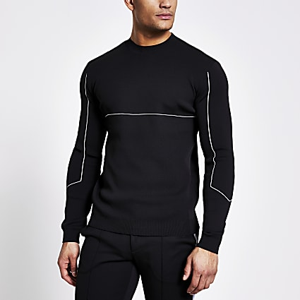 Black stripe long sleeve knitted jumper