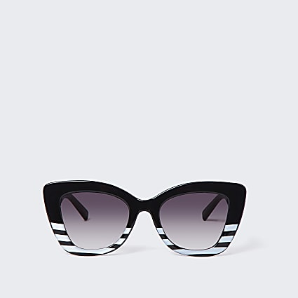 Black stripe oversized glam sunglasses
