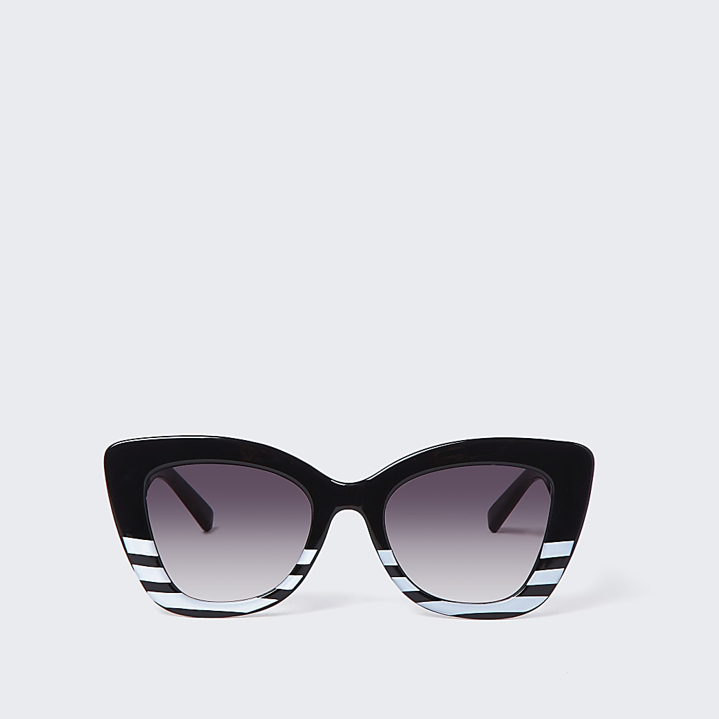 Black stripe oversized glam sunglasses