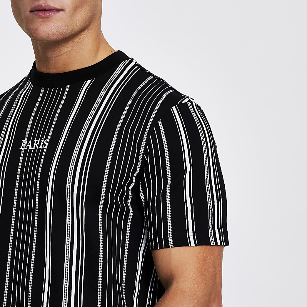 Black stripe 'Paris' short sleeve t-shirt