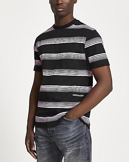 Black stripe print slim fit t-shirt