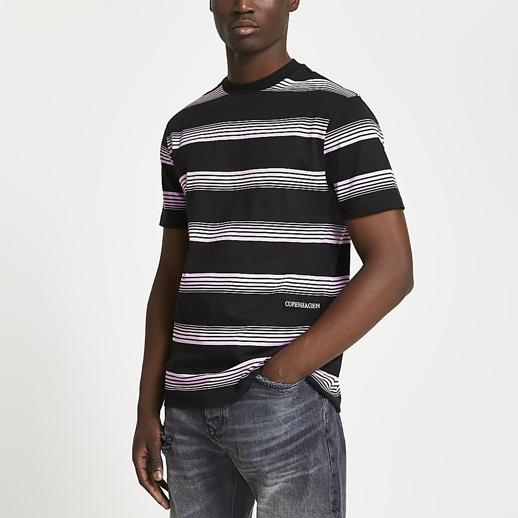 Black stripe print slim fit t-shirt