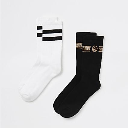 Black stripe printed tube socks 2 pack