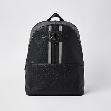Black stripe RI monogram rucksack