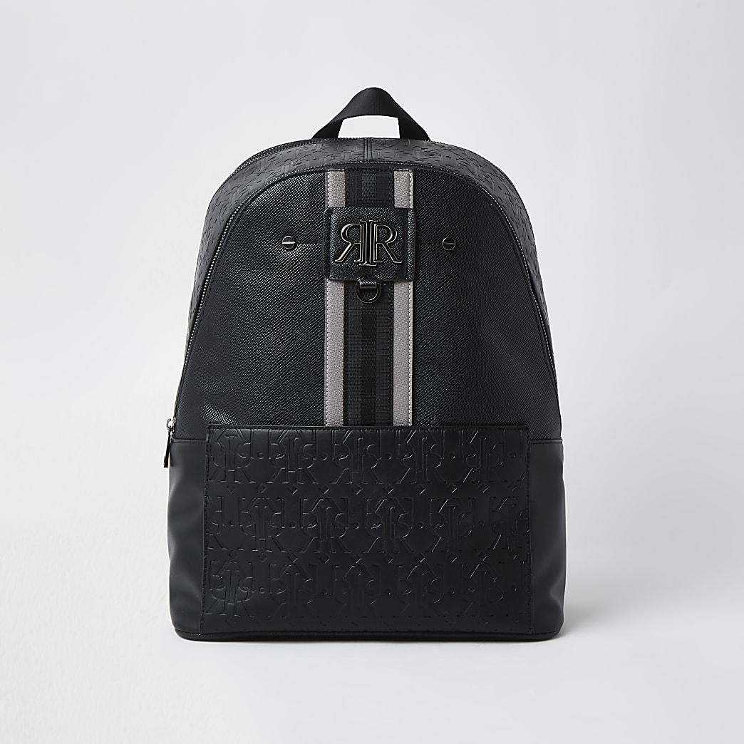 Black stripe RI monogram rucksack