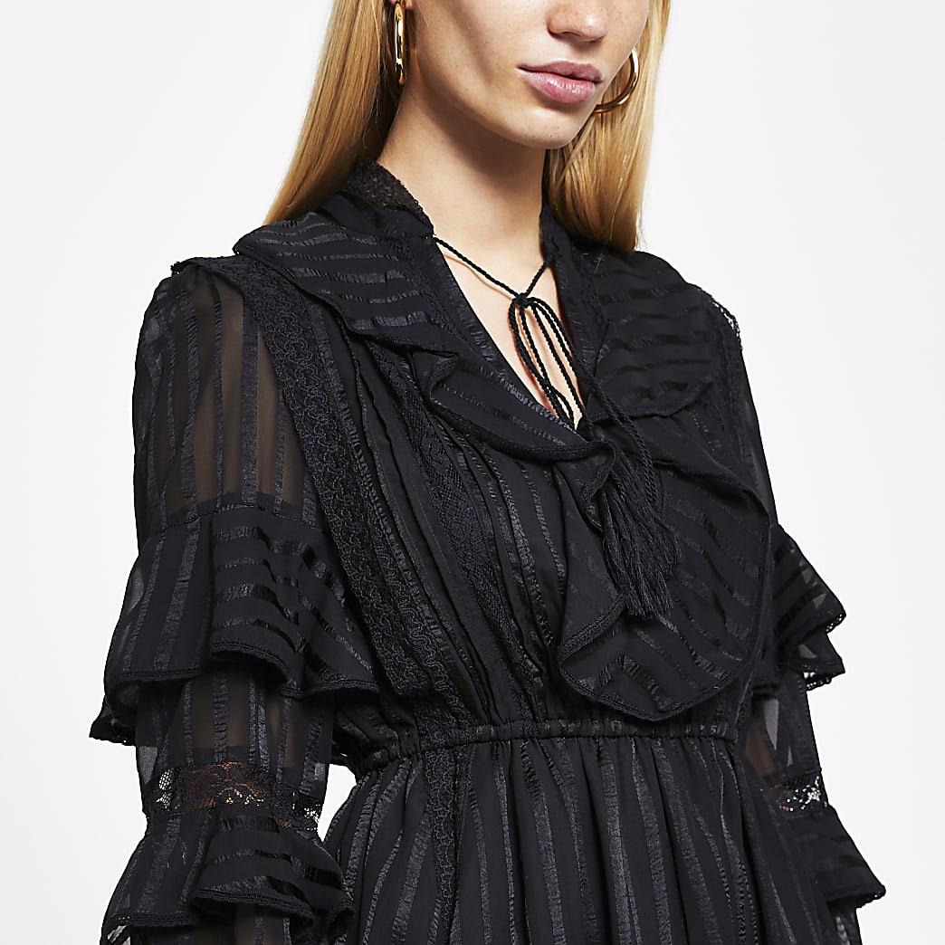 Black stripe sheer frill mini dress