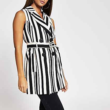Black stripe sleeveless belted blazer