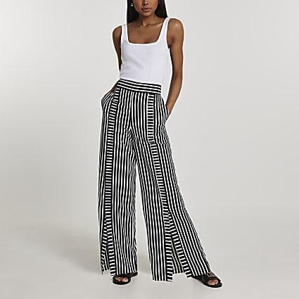 Black stripe split front wide leg trousers