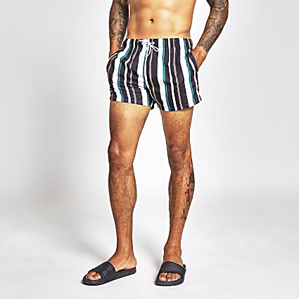 Black stripe swim shorts