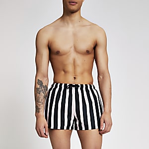 Black stripe swim shorts