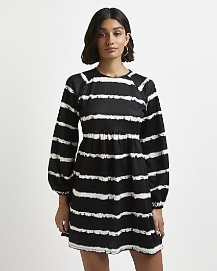Black stripe tie dye mini dress